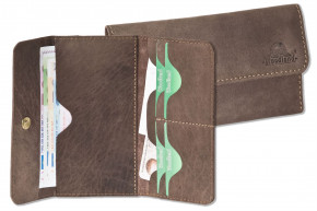 Woodland® super flat women's wallet made of high quality, natural buffalo leather in dark-brown/taupe