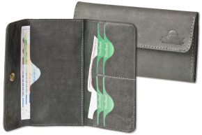 Woodland® super flat women's wallet made of high quality, natural buffalo leather in anthracite
