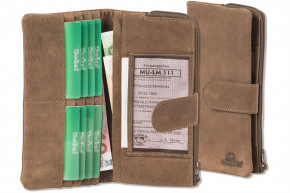 Woodland® Large Luxury Ladies Leather Wallet made from natural, soft buffalo leather in cognac