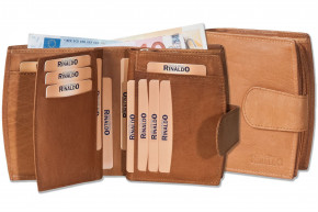 Rinaldo® Damen-Lederbörse mit sehr vielen Einsteckfächern aus naturbelassenem, glattem Rindsleder in Hellbraun