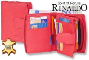 Rinaldo® Damen-Lederbörse mit sehr vielen Einsteckfächern aus naturbelassenem, glattem Rindsleder in Rot