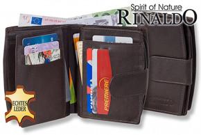 Rinaldo® Damen-Lederbörse mit sehr vielen Einsteckfächern aus naturbelassenem, glattem Rindsleder