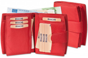 Rinaldo® Women's leather wallet with very many pockets of soft cow leather in red