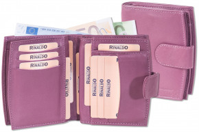 Rinaldo® Ladies leather purse with lots of pockets made ??of natural, soft cow leather in lilc