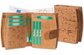 Woodland® Kompakte Luxus-Damenbörse mit besonders vielen Kreditkartenfächer aus naturbelassenem Büffelleder in Hellbraun und Blumenmuster-Prägung