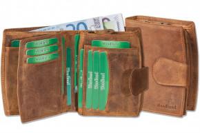 Woodland® Kompakte Luxus-Damenbörse mit vielen Kreditkartenfächern aus ölgewaschenem Rindsleder im Vintage-Look/Cognac