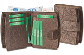 Woodland® Kompakte Luxus-Damenbörse mit besonders vielen Kreditkartenfächer aus naturbelassenem Büffelleder in Dunkelbraun und Blumenmuster-Prägung