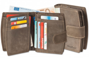 Woodland® Kompakte Luxus-Damenbörse mit besonders vielen Kreditkartenfächer aus naturbelassenem Büffelleder in Dunkelbraun/Taupe