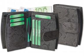 Woodland® Kompakte Luxus-Damenbörse mit besonders vielen Kreditkartenfächer aus naturbelassenem Büffelleder in Anthrazit und Blumenmuster-Prägung