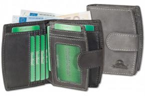 Woodland® Kompakte Luxus-Damenbörse mit besonders vielen Kreditkartenfächer aus naturbelassenem Büffelleder in Anthrazit