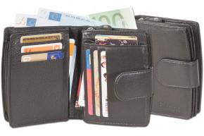 Platino - Kompakte Luxus-Damenbörse mit sehr vielen Kreditkartenfächer aus feinstem, naturbelassenem Rindsleder in Schwarz