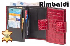Rimbaldi® - Damengeldbörse mit insgesamt 20 Einsteckfächer aus gutem Rinderleder im Krokodesign in Rot / Multiton