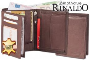 Rinaldo® Hochformat Riegelbörse aus naturbelassenem, glattem Rindsleder in Dunkelbraun