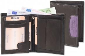 Rinaldo® Hochformat Riegelbörse aus glattem, naturbelassenem Rindsleder in Schwarz mit Seitenstreifen in Aubergine