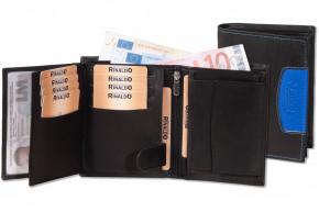 Rinaldo® Hochformat Riegelbörse aus glattem, naturbelassenem Rindsleder in Schwarz mit blauem Seitenstreifen