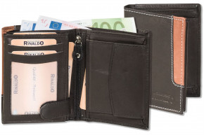 Rinaldo® Hochformat Riegelbörse mit dem Protecto® RFID-Blocker Schutz aus glattem, naturbelassenem Rindsleder in Schwarz mit braunem Seitenstreifen