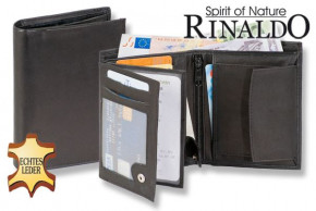 Rinaldo® Hochformat Riegelbörse aus naturbelassenem, glattem Rindsleder in Schwarz