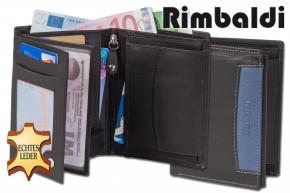 Rimbaldi® Riegelgeldbörse im Querformat aus feinem Rind-Nappaleder in Schwarz mit blauer Applikation