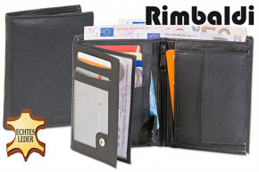 Rimbaldi® Bolt wallet in horizontal format from fine Nappa leather in black with brown application