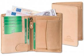 Woodland® Hochwertige Lederbörse  mit dem Protecto® RFID/NFC-Blocker Schutz im Hochformat aus naturbelassenem Büffelleder in Creme