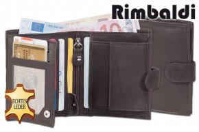 Rimbaldi® Kleine Geldbörse im Hochformat mit Innen- und Außenriegel aus naturbelassenem Rindsleder in Dunkelbraun
