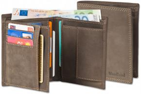 Woodland® Geldbörse im Hochformat aus naturbelassenem, weichem Büffelleder in Dunkelbraun/Taupe