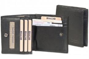Rinaldo® Kleine Geldbörse mit großem Hartgeldfach (Wiener Schachtel) aus naturbelassenem glattem Rindsleder in Schwarz