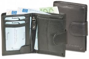 Protecto® - Riegelgeldbörse im Hochformat mit RFID-Blocker System aus feinem, naturbelassenem Rinderleder in Schwarz