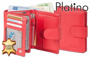 Platino - Damenbörse mit Außenriegel aus feinstem Rindsleder in First Class-Qualität in Rot