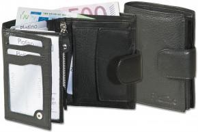 Platino - Damenbörse mit Außenriegel aus feinstem Rindsleder in First Class-Qualität in Schwarz