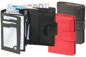 Platino - Women's wallet with outer tie made from the finest leather with first-class quality in red