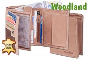 Woodland® Hochformat Riegelbörse aus weichem, naturbelassenem Büffelleder in Cognac