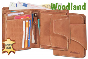 Woodland® - Universal Modern wallet with a large outdoor bar made from soft, untreated buff-leather leather