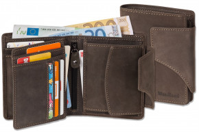 Woodland® Moderne Universal-Geldbörse mit großem Außenriegel aus weichem, naturbelassenem Büffelleder in Dunkelbraun/Taupe