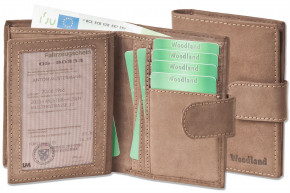 Woodland® - Universal Modern wallet with a large outdoor bar made from soft, untreated buff-leather in dark-brown/taupe