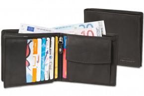 Rinaldo® Querformat Geldbörse mit besonders vielen Kreditkartenfächern aus naturbelassenem, glattem Rindsleder in Schwarz