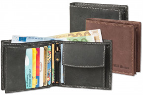 Wild Nature®  Wallet in landscape from natural lbuff-eather in the color of nature-dark