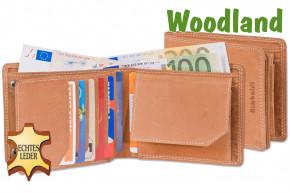 Woodland® Querformatbörse mit Platz für 11 Kreditkarten aus naturbelassenem, weichem Büffelleder in Cognac