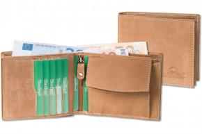 Woodland® Querformatbörse mit Platz für 12 Kreditkarten aus ölgewaschenem Rindsleder im Vintage-Look/Cognac