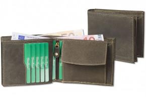 Woodland® Querformatbörse mit dem Protecto® RFID-Blocker Schutz aus naturbelassenem, weichem Büffelleder in Dunkelbraun/Taupe