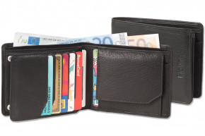Platino - Landscape wallet with space for 11 credit cards made from natural, soft cow leather in fir