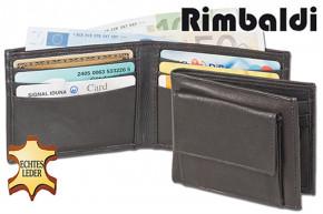 Rinaldo® Mini-Geldbörse mit Außen-Hartgeldfach aus Rind-Nappaleder in Schwarz