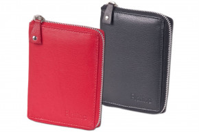 Platino - Compact women's wallet with circumferential metal zipper, made from the finest cow-leather