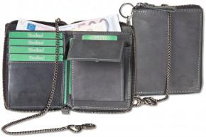 Reißverschluss-Geldbörse einschl. beiliegender Metallkette aus naturbelassenem Büffelleder in Anthrazit