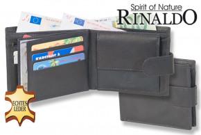 Rinaldo® Querformatbörse mit Außenriegel aus glattem, naturbelassenem Rindsleder in Schwarz
