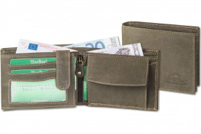 Woodland® - Wallet in landscape from natural lbuff-eather in the color of dark-brown/taupe