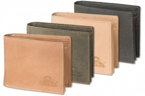 Woodland® Wallet with loop in landscape made from natural buff-leather