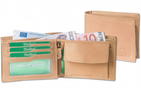 Woodland® - Landscape wallet with many credit card pockets made from soft, untreated buff-leather in cognac