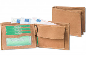 Woodland® Hochwertige Lederbörse im Querformat mit dem Protecto® RFID-Blocker Schutz aus naturbelassenem Büffelleder in Cognac