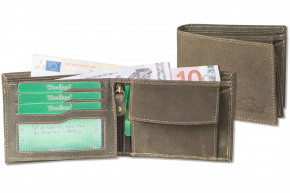 Woodland® Landscape wallet made from natural, soft buffalo leather in dark-brown/taupe